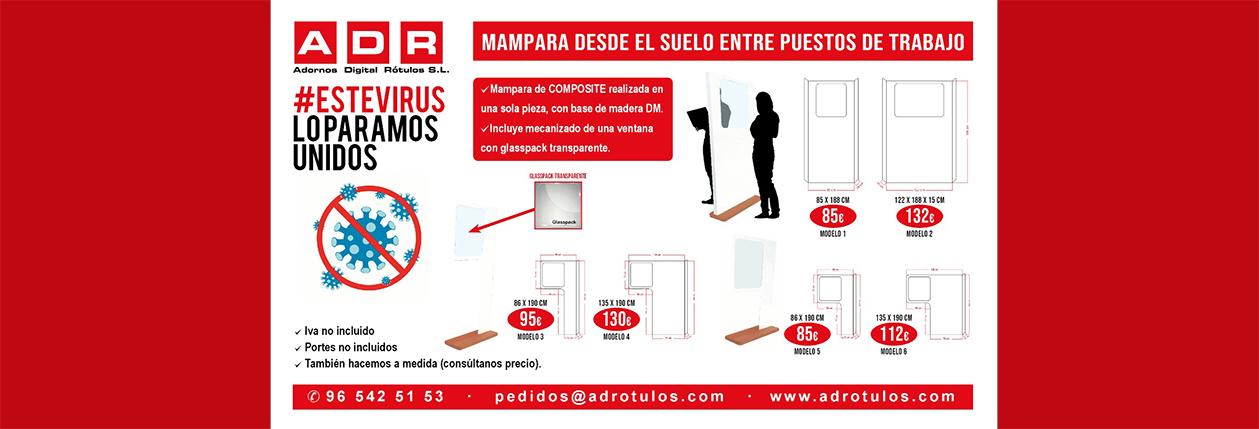 PUBLICIDAD COVID-19 MAMPARA DESDE SUELO
