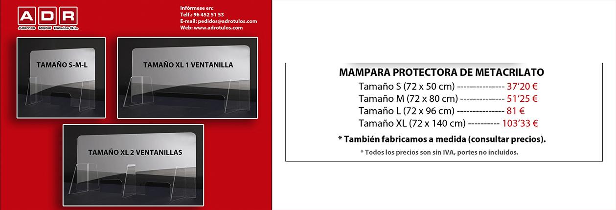 PUBLICIDAD COVID-19 MAMPARA METACRILATO